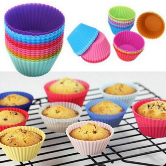 Pack of 6 Round Shape Silicone Muffin Cup Cake Molds  Moulds