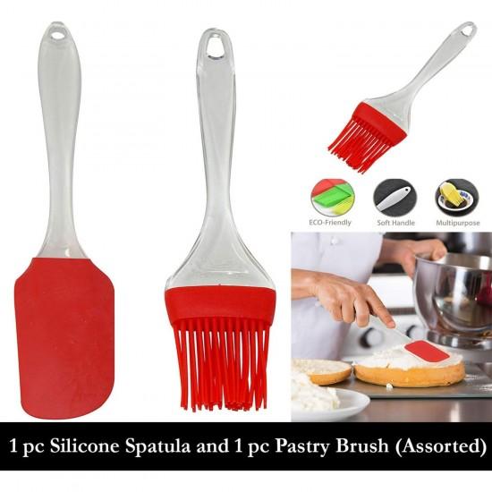 Silicon brush and Spatula set Large size