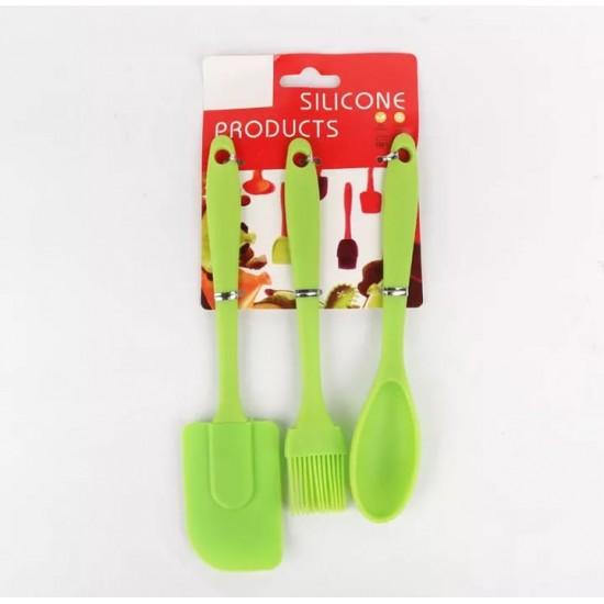 3Pcs Kitchen Tools Set Silicone SpatulaBBQ BrushSpoon