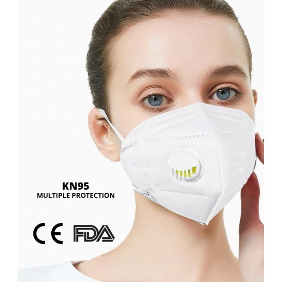 Pack of 10 KN95 Face Protective Mask with Respirator, 5 Layers Protection CE Certified