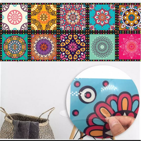 Kitchen Tile Stickers Pack of 12 Pcs. 12x12 cm Colorful  Pattern Design Wall Decorative Self Adhesive