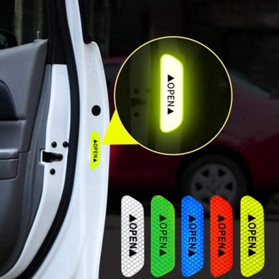 4-Pieces OPEN Car Door Sticker Reflective Tape Warning Mark Reflective Strips Night Driving Safety Lighting Luminous Tapes