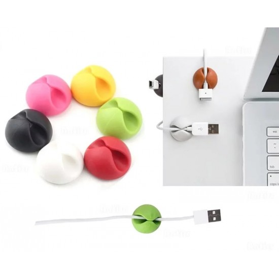 5 PCS Office Desk Adhesive Silicone Cable Organizer Wire Organizer Desktop Clips
