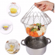 Stainless Steel Foldable Chef Magic Basket Steam Rinse Strain Fry Basket Strainer Net Kitchen Cooking Tool