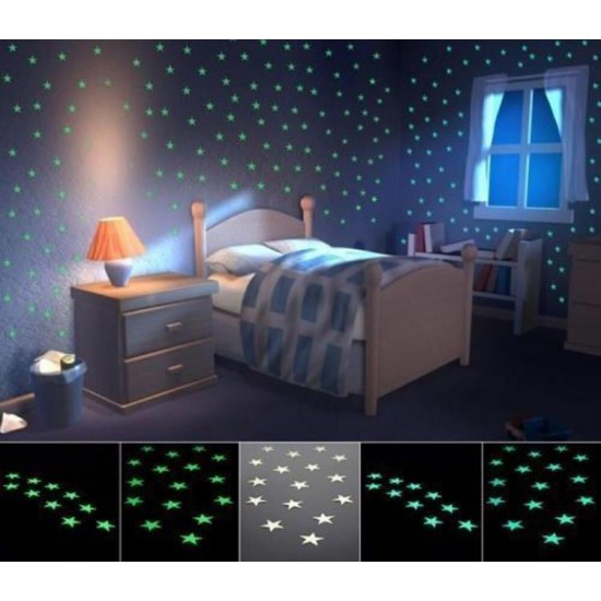 100PC Glowing Wall Stars Stickers Glow in Dark Stars Home Decor Wall Decorating
