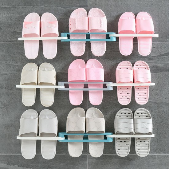Shoe Rack Organizer Wall Mounted 3 in 1 Space Saving Shoes Storage Shelf Slipper Stand
