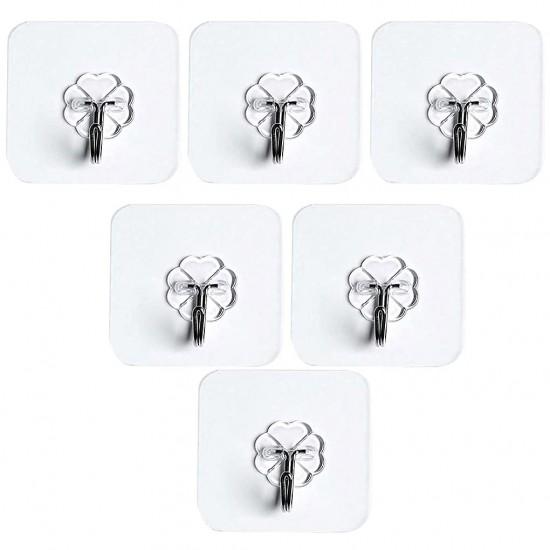 10Pcs Transparent Strong Self Adhesive Door Wall Hangers Hooks Waterproof Stainless Steel Hook Kitchen Bathroom Accessories