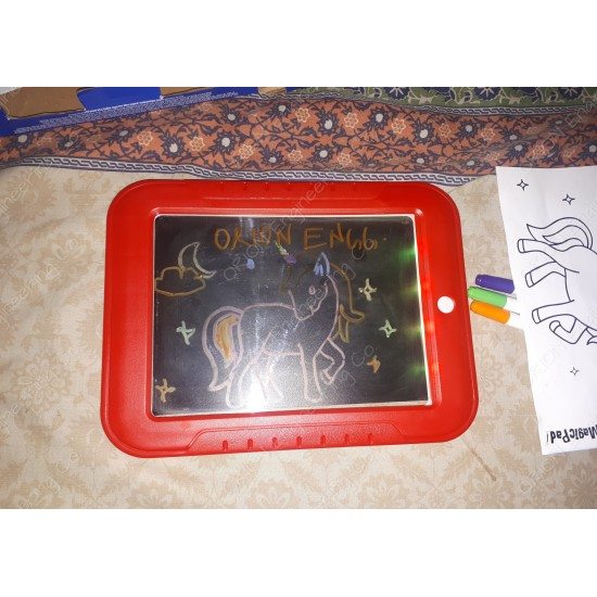 Magic SketchPad Tab Art that GLOWS LED Light Up Drawing Board for Kids Illuminating Screen Draw, Sketch, Create, Doodle, Art, Write Learning Educational Toy includes Dual Side Neon Pens, Stencils and Colorful Light Effects