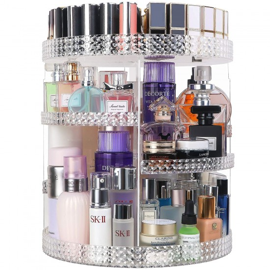 360 Degree Rotating Cosmetic Organiser Box Makeup Storage Cosmetics Storage Rack Fashion Crystal shelf Display Stand High Capacity