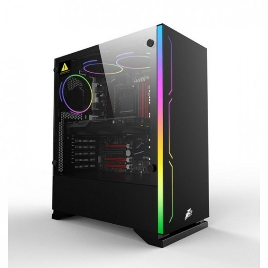 1st player B6 (Black) BLACK.SIR Series With 3 Fans ATX Gaming Case (Non RGB Fans)