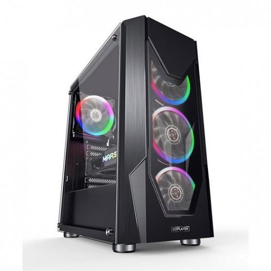 1st player DK-D5 ATX Black with M1 Combo ARGB Kit + 1 M1 ARGB Fan 4 Fans ARGB + Controller + Hub Gaming Case