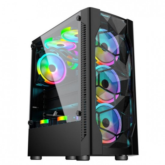 1st player DK series DK-D4 (Black) with 4 A2 RGB Fan ATX Gaming Case