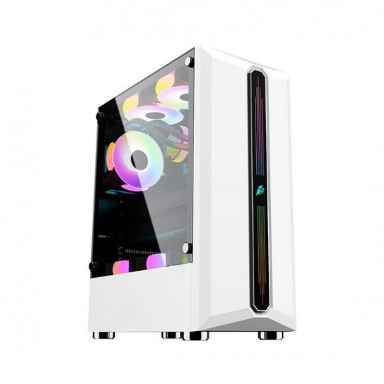 1st player RB-3 (ATX) White with 1 G6 RGB Fan + 2 B1 Non RGB Fan Gaming Case
