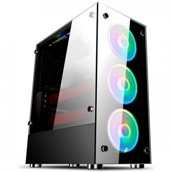1st Player V6 (ATX) Black with M1 Combo ARGB Kit + 1 M1 ARGB Fan 4 Fans ARGB + Controller + Hub Gaming Case