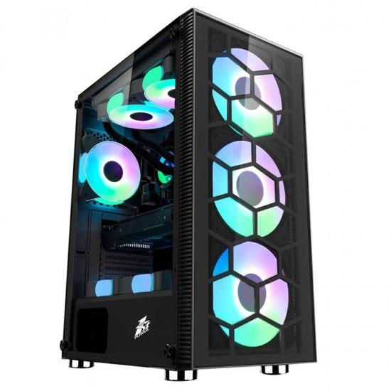 1st Player X7G Mid Tower ATX Gaming Case 3 G7 Plus Fan + 1 G7 RGB Fan + Hub + Remote