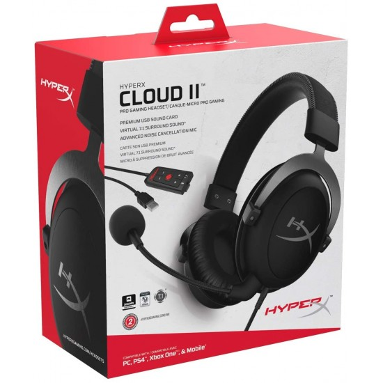 HyperX Cloud II Gaming Headset – 7.1 Surround Sound – (KHX-HSCP-GM) – Gun Metal