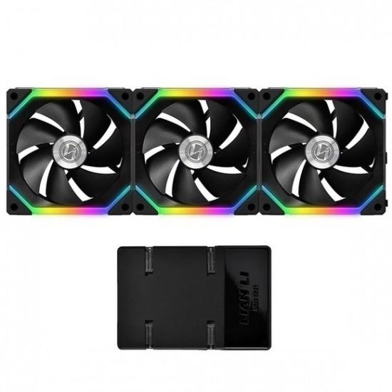 Lian Li UNI Fan SL120 3 Pack Black with Controller (ARGB 120mm LED PWM Daisy-Chain) 12UF3B