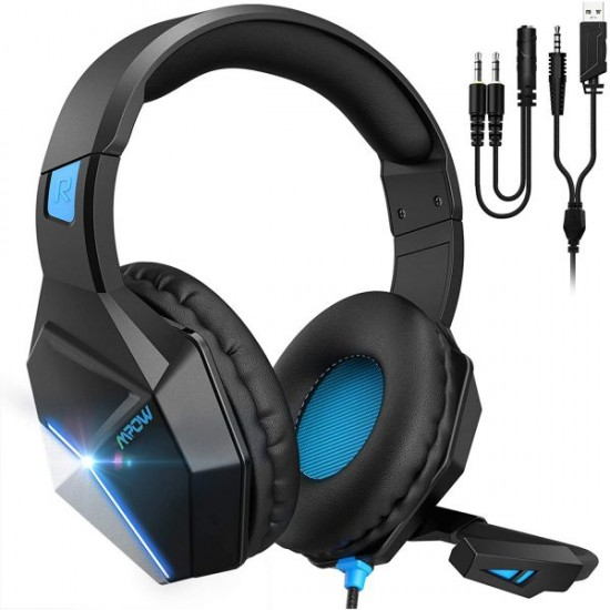 Mpow EG10 Gaming Headset for PS4,PS5,PC,Xbox One,Switch -7.1 Surround Sound Headset with Microphone