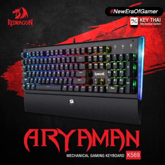 Redragon ARYAMAN K569 RGB Mechanical Gaming Keyboard – Black – Blue Switches